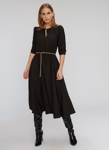 People By Fabrika Balon Kollu Yaka Detaylı Elbise Siyah